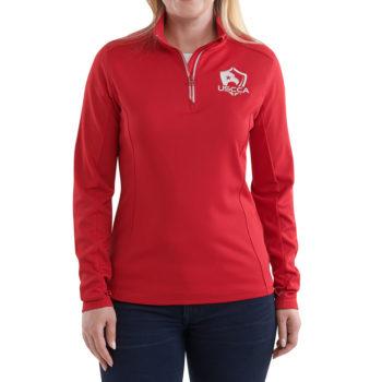 Front-USCCA Women's Textured Logo Performance 1/4 Zip